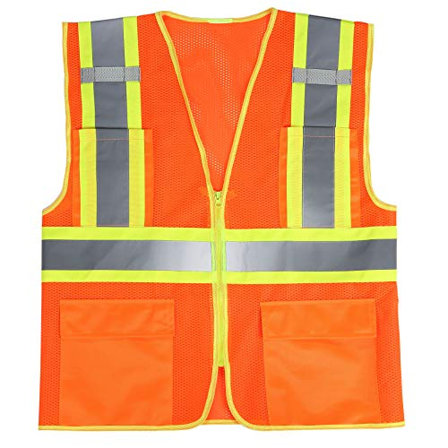 SULWZM High Visibility Reflective Safety Vest with Zipper and Pockets,Breathable Mesh Vest Yellow,M