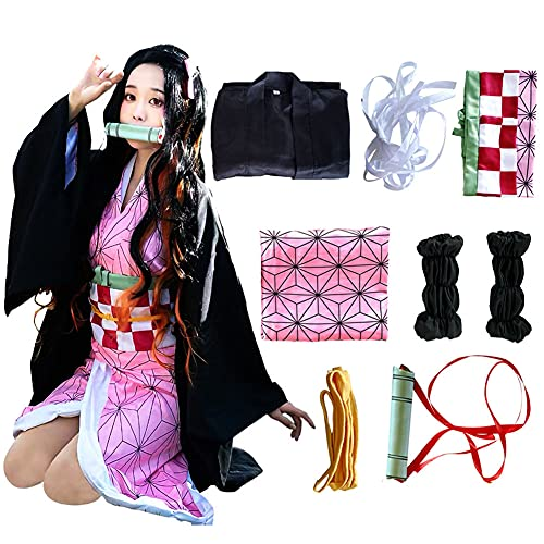 Kamado Cosplay Costume Outfit Kimono with Hairwear and Bamboo Outfit (Kid(without wig), 55in/140cm)