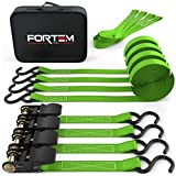 FORTEM Ratchet Tie Down Straps, 4X 15ft Securing Straps, 4X Soft Loops 1500lb Break Strength, Rubber Coated Metal Handles, Plastic Coated Metal Hooks, Carrying Case (Green 4-Pack)