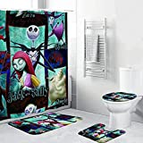 KANBGMTR 4 Pcs Nigh-tmare BEF-ore CHRI-stmas Shower Curtain Set with Non-Slip Rugs,Toilet Lid Cover and Bath Mat,Nightmare Before Christmas Shower Curtain with 12 Hooks