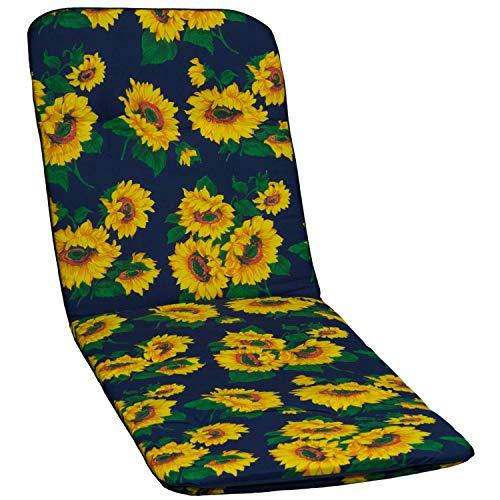 Beo Gartenstuhlauflage Gartenstuhlkissen Sitzkissen Polster für Gartenliegen Sonnenblumen blau