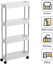 SPACEKEEPER 4 Tier Slim Storage Cart Mobile Shelving Unit Organizer Slide Out Storage Rolling Utility Cart Tower Rack for Kitchen Bathroom Laundry Narrow Places, Plastic & Stainless Steel, White