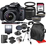 Canon Rebel T100 w/Canon EF-S 18-55mm F/3.5-5.6 III Zoom Lens & Professional Accessory Bundle W/ 128GB Memory Card & Back-Pack Case & Spare Battery & More