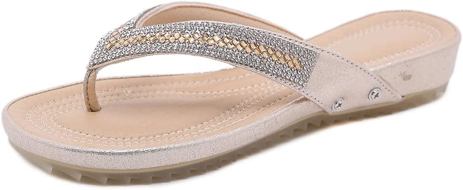 DovSnnx Women's Summer Flat Open Toe Sandals Slip On Flip Flops Sport Wedge Low Heel Shoes with Arch Support Outdoor Slippers Elastic Strap Bohemia Beach Travel Rhinestone Clip Toe Gold