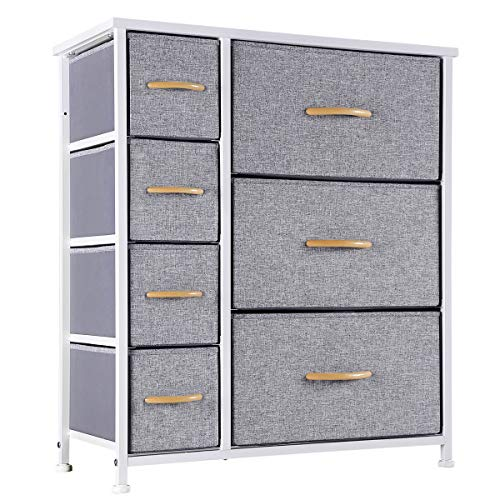 Kamiler 7 Drawers Dresser-Furniture Storage UnitBedroom Chest Organization-Closet for Clothes Wood Top Easy Pull Fabric Bins Anti-Tip Kit White