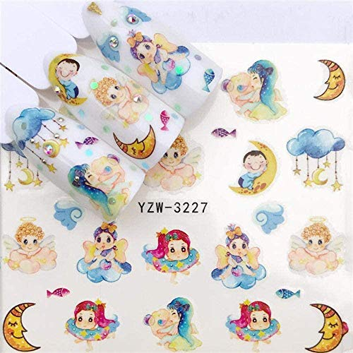 SRTYH Autocollant d'ongle Nail Art Nail Sticker Slider Tattoo Flower Water Decal Bonhomme de neige Full Wraps Designs Decals Make Nails More Beautiful FB