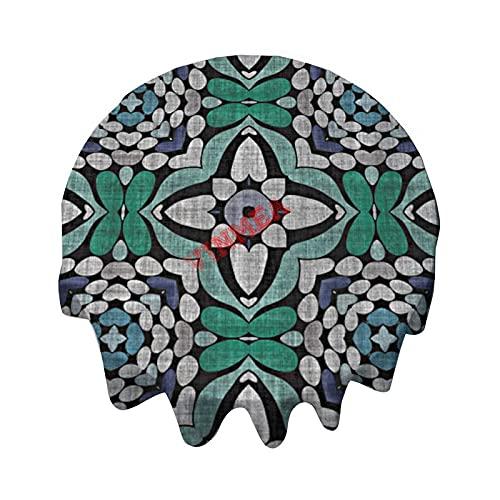 Mantel redondo de 36 pulgadas, color turquesa, verde azulado, azul, Hip Orient Bali Art mantel para mesa de bufet, fiestas, cenas de vacaciones, bodas y más