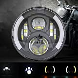 SKUNTUGUANG 7 Inch LEd Headlight with DRL Turn Signal Lights for Motorcycle Har-ley David-sion(Signal Headlight)