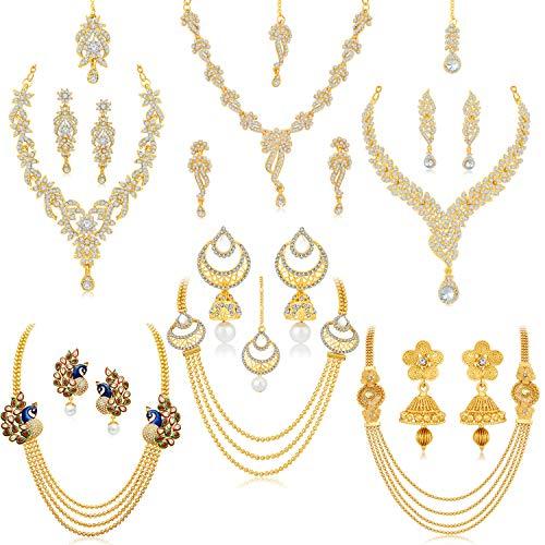 Sukkhi Glorious Pearl Gold Plated Wedding Jewellery Austrian Diamond Peacock Meenakari Set of 6 Necklace Combo for Women (SKR48723)