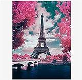 5D DIY Diamond Painting Kit Torre rosa flores Pintura Diamante Completo Kits para Adulto Niño Bordado punto de cruz Crystal Rhinestone Art Lienzo Pared Decor Round Drill,25x45cm