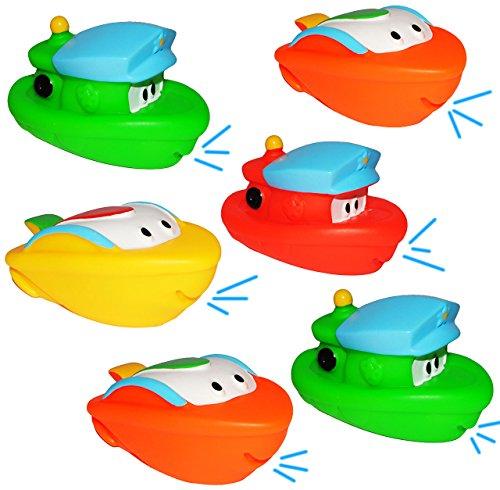 alles-meine.de GmbH 6 Stück Gummifiguren - Boote und Schiffe - Tiere / Gummifiguren - zum Wasser Spritzen - für Baby ab 0 Monate - Quietsch / Badewanne - Badewannenspielzeug Baby..