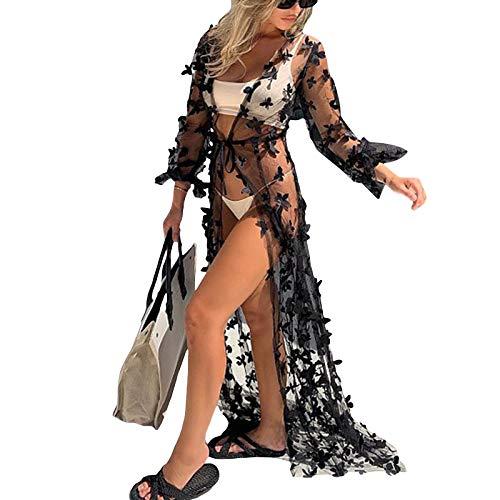 Olisenci Damen Sexy Lange Maxi Badeanzug Cover Ups Charmante Chiffon Open Front 3D Schmetterling Flowy Beach Cardigan Bademode (Schwarz, S)