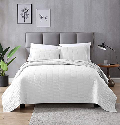 EXQ Home Quilt Set Full/Queen Size White 3 Piece,Lightweight Microfiber Coverlet Modern Style Stitched Quilt Pattern Bedspread Set