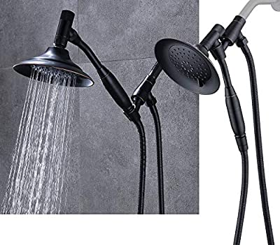 G-promise Double Height Positioning Shower Head, High Pressure Shower Heads with Handheld Spray, Adjustable Metal Bracket Holder, Extra Long Stainless-Steel Flexible Hose (Bronze)