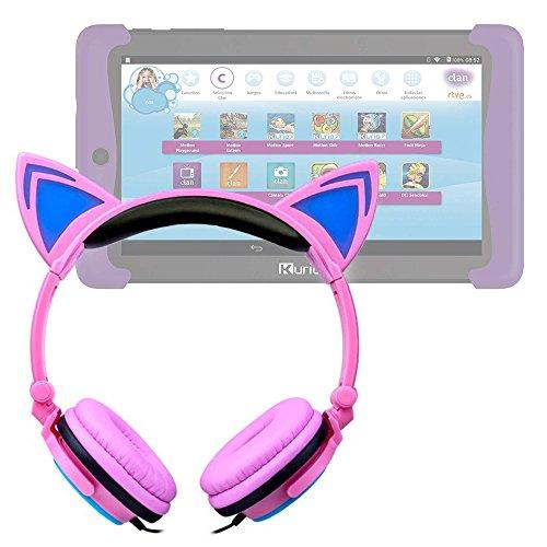 DURAGADGET Auriculares Plegables estéreo con diseño de Orejas de Gato en Color Rosa para Cefatronic - Tablet Clan Motion Pro