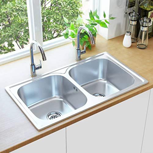 Festnight Küchenspüle Doppelbecken mit Sieb & Siphon Edelstahl Küchenspüle Doppelbecken mit Sieb Siphon Spülbecken Doppelspüle Silbern 84 x 48 x 20 cm (L x B x H)