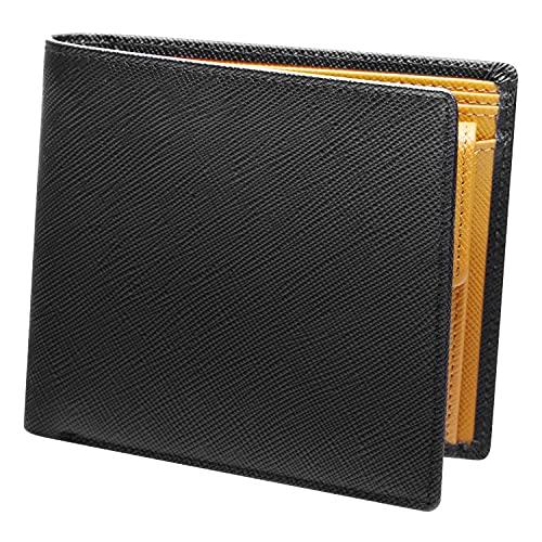 [AYUMA] 財布 メンズ 二つ折り 本革 レザー 小銭入れ2室 札入れ3室 仕切りあり ブラック/ブラウン