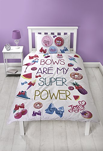 Jo Jo Siwa Single Duvet Set with Matching Pillow Case | Super Pink Bow Two Sided Reversible Design