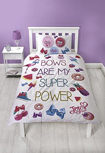 Jo Jo Siwa Bettwäsche-Set für Einzelbett, mit passendem Kissenbezug, rosa Schleife, zweiseitig, wendbar