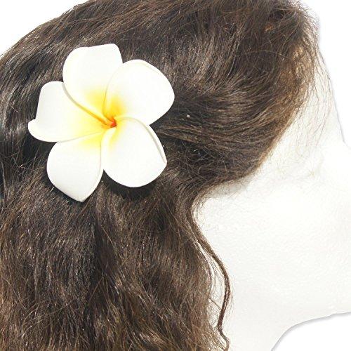 DreamLily Womens Fashion 3 Pcs Hawaiian White Plumeria Flower Foam Hair Clip Balaclavas for Beach (White)