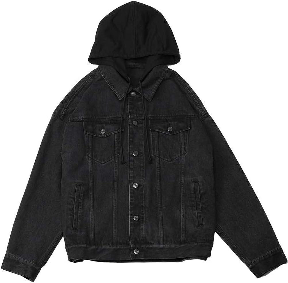 FTCayanz Men's Hooded Denim Jacket Button Down Jean Coat Oversized Trucker Jackets