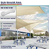 Windscreen4less 16' x 16' x 16' Sun Shade Sail Canopy in Beige with Commercial Grade (3 Year...