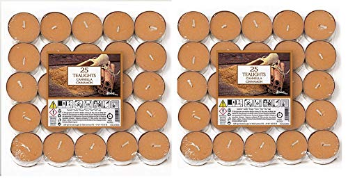 Price's Candles 021934D - Candele Tea Light Aladino e Cannella, Confezione da 50