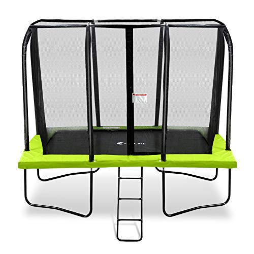Exacme 7x10 Foot Rectangle Trampoline with Enclosure for Kids Spring Cover Ladder High Weight Limit, Green, 0710G
