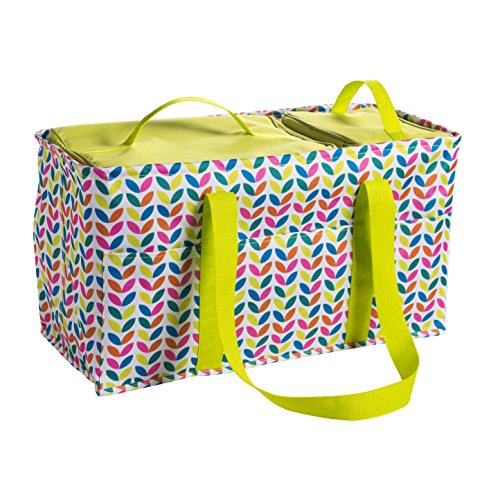 Large Utility Tote Bag With Handles 2 Zippered Coolers, Heavy Duty Fabric - Beach Picnic Basket, Collapsible Grocery Cart, Insulated Lunch Bag for Work, Car Trunk Organizer For Women(Leaves)