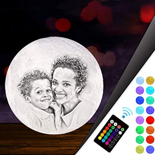Mondlampe Luna 3d mit Foto Personalisiert,Kundenspezifisches Foto Mond Lampe Kinderzimmer,Muttertag Vatertag Geschenk