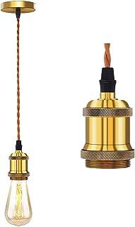 Lampa wisząca, industrialna lampa sufitowa wisząca lampa fasadowa brąz E27 oprawa lampy z plecionym kablem do kuchni sypia...