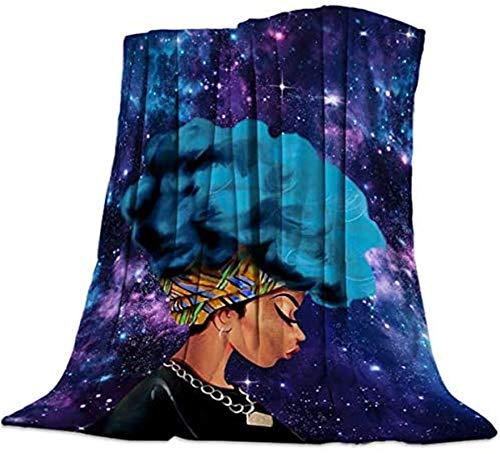 Mantas suaves y cálidas para todas las estaciones, hermosa mujer africana con pelo azul Universo impresión de estrellas ligeras y mullidas térmicas para sofá cama, 101,6 x 127 cm