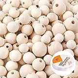 Naturale Perline in Legno 660 Pezzi, Set di Perline di Legno Rotondo Naturale con 3 Rotolo Elastico di Cristallo Linea per Fai da Te Gioielli - 4 Misure