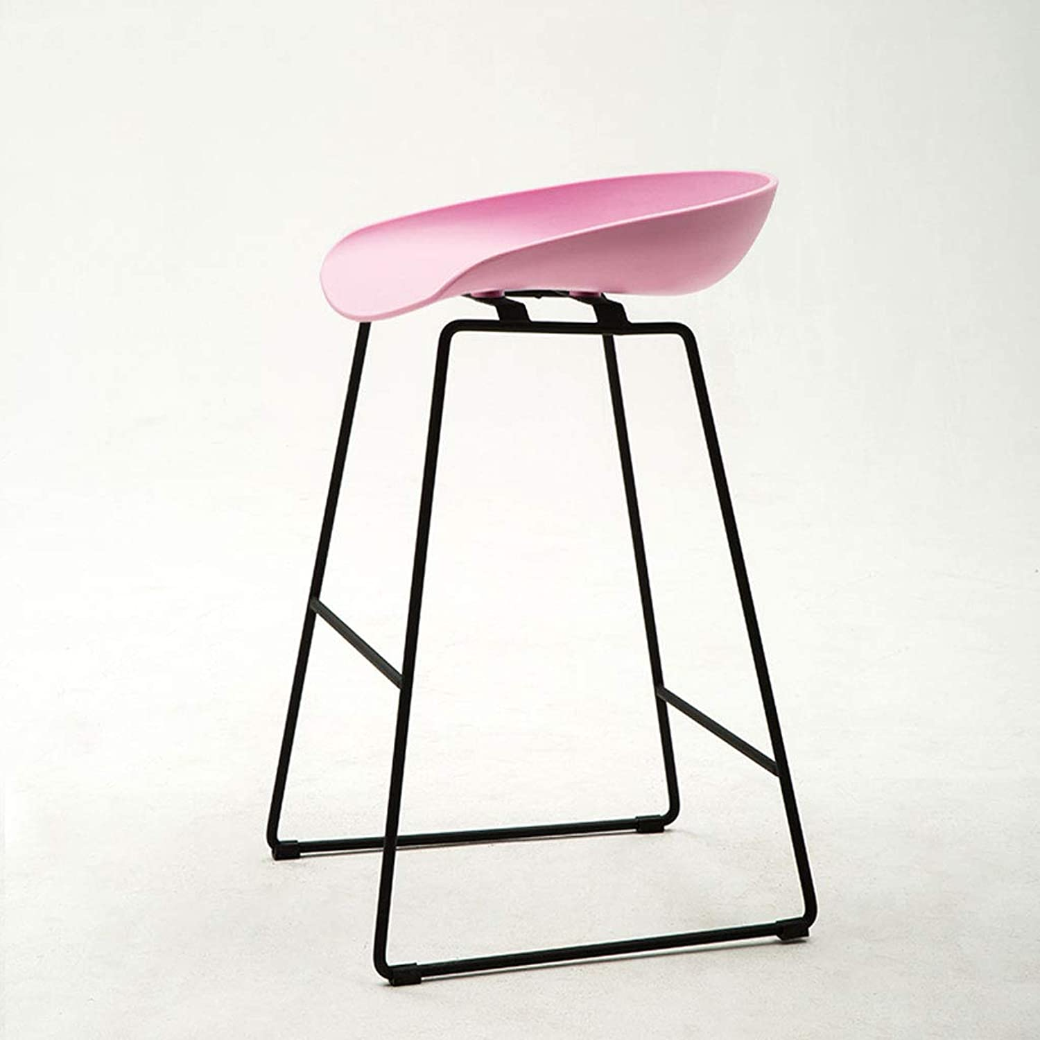 CCF Nordic Wrought Iron Bar Stool Fashion Personality High Stool Simple V (color   Pink, Size   L45CMXW45CMXH73CM)