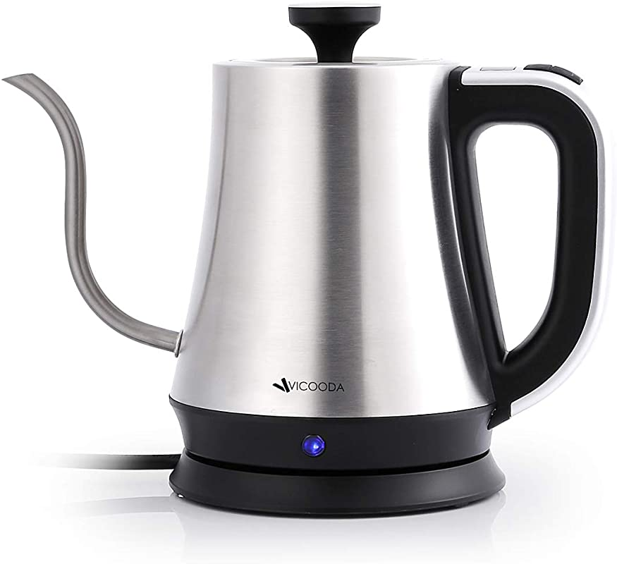 Electric Tea Kettle VICOODA Gooseneck Water Kettle Temperature Control With LCD Display Auto Shut Off Boil Dry Protection Water Boiler 1L 1000W