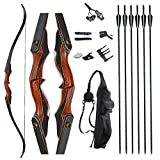 TOPARCHERY Archery 60' Takedown Hunting Recurve Bow and Arrow Set for Adults Practice Competition Longbow Kit with 6pcs Fiberglass Arrows Right Hand Black (50.00)