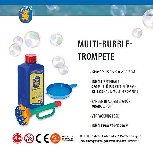 Pustefix Multi-Bubble-Trompete + Seifenblasenwasser Nachfüllkanister 2,5 L I Bunte Bubbles Made in Germany I Seifenblasen Spielzeug für Kindergeburtstag, Hochzeit I Spaß für Kinder & Erwachsene