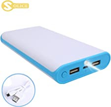 SOLICE® 20000mAh Dual USB Output Portable Charger External Cell Phone Battery Pack Power Bank with LED Light for iPhone, iPad & Samsung Galaxy & More (Blue)