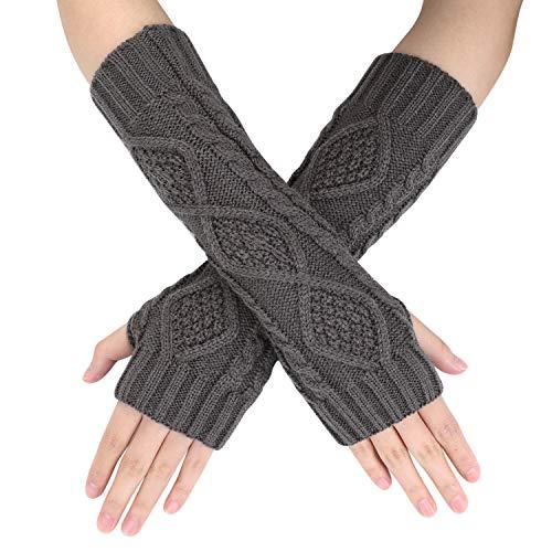 Handwärmer Fingerlose Gestrickt Armwärmer Halbfinger Winterhandschuhe Handgelenk Arm Pulswärmer Fäustlinge Handgelenkwärmer Rhombus Muster Armstulpen Strickhandschuhe für Damen Mädchen
