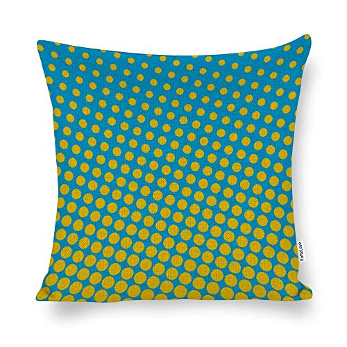 Promini Pop Art - Funda de cojín con diseño de medio tono aguamarina y amarillo y mezcla de lino y algodón con cierre de cremallera oculta para sofá, banco, cama, decoración del hogar, 50,8 x 50,8 cm