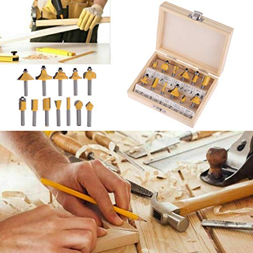Fräser, 12 PC-Frässtifte, Karbonstahl, Legierung, 0,6 cm Schaft, versiegeltes Kugellager, Bit-Set, Oberfräsen-Bits, UK
