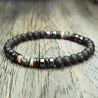 Bracelet Homme Taille 19-20cm perles Ø 6mm pierre gemme Lave Volcanique Hématite Larvikite Labradorite Bois Cocotier/Coco Fait Main Made in France BRACAP-18