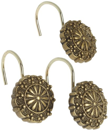 Carnation Home Fashions Sheffield Ceramic Resin Shower Curtain Hook, Antique Gold