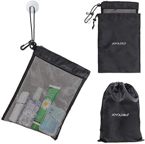 """LEEFE Shower Bag Tote, Mesh Shower Caddy Portable Organizer 12""""L x 9""""W with Suction Cup and Zipper Drawstring Pouch 14""""L x 10""""W for Shampoo, Conditioner, Soap and Other Gym Bathroom Accessories"""