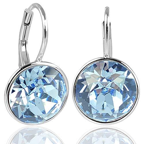 NOBEL SCHMUCK Silber-Ohrringe Blau mit Kristallen von Swarovski® 925 Sterling Silver