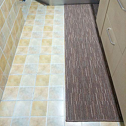 Kitchen Mat Anti Slip Floor Rug, Rectangular Water Absorption Dirt Resistance Oil Proof Mat For Bedside Shoebox-brown 50x180cm(20x71inch)