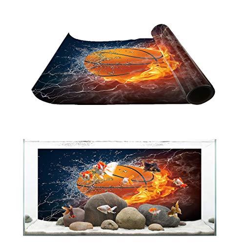 T&H Home Aquarium Décor Backgrounds - Cool 3D Basketball with Flame Print Fish Tank Background Aquarium Sticker Wallpaper Decoration Picture PVC Adhesive Poster, 36.4' W x 24.4' H