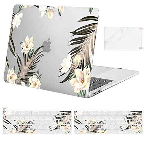 MOSISO Compatible with MacBook Pro 13 inch Case 2016-2020 Release A2338 M1 A2251 A2289 A2159 A1989 A1706 A1708, Plastic Magnolia Hard Shell Case & Keyboard Cover & Screen Protector, Transparent