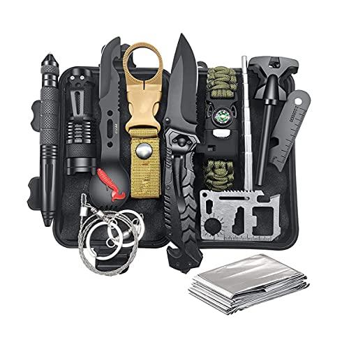 gotosee Kit de supervivencia de emergencia 13 clases al aire libre multi-herramientas suministros de primeros auxilios brújula Picapiedra arrancador para acampar pesca