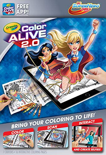 DC Super Hero Girls Crayola Color Alive 2.0 Interactive Coloring Book, Crayons and Mobile App Set